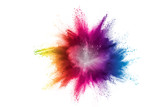 Fototapety Splash of colorful powder over white background.