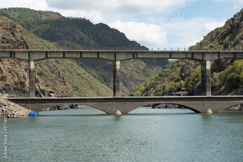 Bridge in the course of river Rio Sil in Galicia