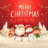 Merry Christmas! Happy Christmas companions. Santa Claus, Snowman, Reindeer and elf in Christmas snow scene. - 177646100