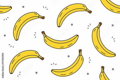 Bananas seamless pattern. Vector illustration - 177655959