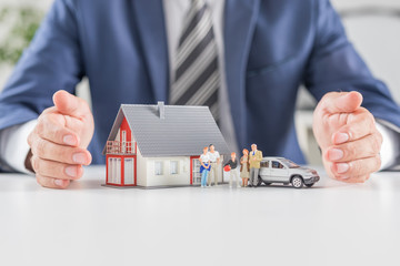 Insurance house, car and family health live concept.