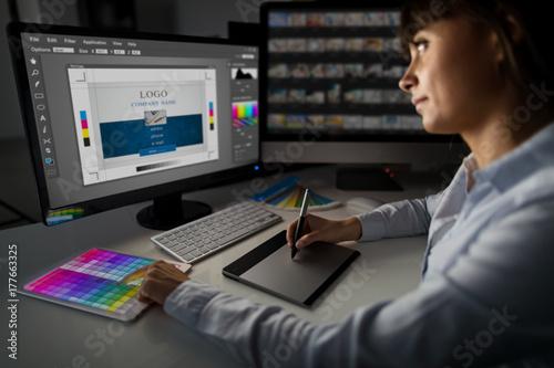 Graphic designer at work. Color samples. Poster