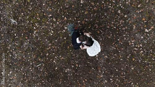 Fotobehang Natuur Fall Wedding Happy Couple Drone