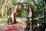 Wedding ceremony arch, altar decorated with flowers on the lawn - 177671388