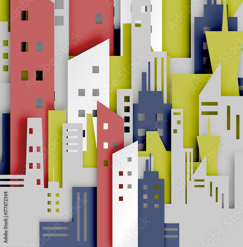 City abstract background paper art style - 177672364