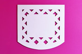 white mexican perforated paper on pink background - 177673789