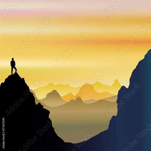 Tuinposter Draw On Top of the World - Lonely Man on Mountains Landscape