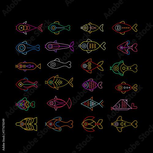 Foto op Plexiglas Abstractie Art Neon Fish Icons
