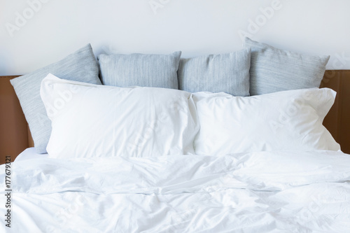 Pillows on the bed Poster
