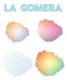 La Gomera polygonal island map. Mosaic style maps collection. Bright abstract tessellation, geometric, low poly, modern design. La Gomera polygonal maps for infographics or presentation. - 177679520