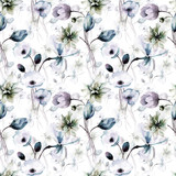 Floral seamless wallpaper with flowers