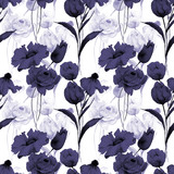 Seamless pattern with Original flowers