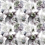 Seamless pattern with Hydrangea and Violet flowers