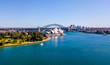 Leinwanddruck Bild - Beautiful panorama of the Sydney harbour district with Harbour bridge, Botanical garden and the Opera building.