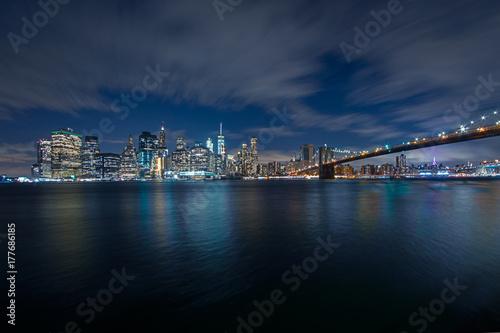 Fotobehang Brooklyn Bridge New York City Nachtpanorama