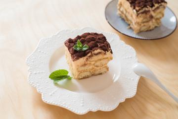 Homemade tiramisu cake. Traditional Italian cuisine.