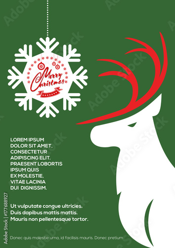 Aluminium Hipster Hert Merry Christmas greeting card or poster template with Deer. Vector illustration