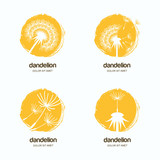 Set of vector logo, icon or emblem with yellow dandelions. Watercolor hand drawn design template for flowers delivery or gift shop.