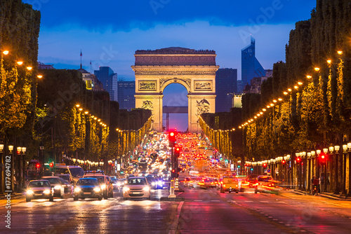 Poster Champs Elysees and Arc de Triomphe, Paris