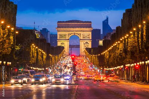 Champs Elysees and Arc de Triomphe, Paris Poster