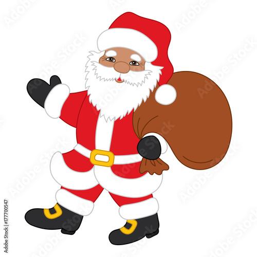Fotobehang Indiërs Vector Christmas Santa Claus with Sack