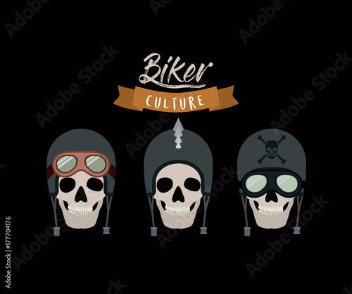 Fotobehang Vintage Poster biker culture poster with skulls motorcyclists