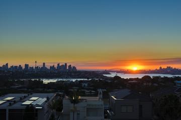 Sydney Harbour and CBD at sunset
