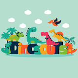 Lovely vector set with funny dinosaurs