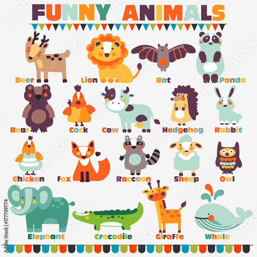Foto op Plexiglas Uilen cartoon Big funny animal set in bright colors made of wild and domestic animals with their names written beside them