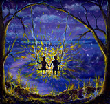 Original oil painting Lovers boy and girl ride on a swing in forest at night in Beautiful rays of love, night scenery, blue-violet evening - Modern impressionism painting. Illustration art.