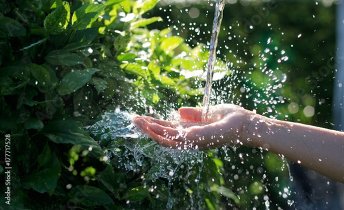 Water pouring in woman hand on nature background, environment issues © ipopba