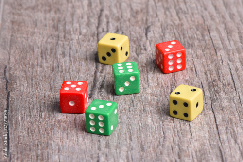 Poster Dice on the table.
