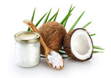 Coconut, glass jar and wooden spoon with coconut oil isolated on white background. - 177719385