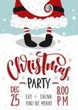 Christmas party invitation. Vector template with calligraphy and hand drawn design elements. - 177719935