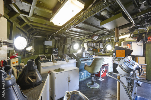 Fotobehang Schip Command center interior on navy warship. Army military equipment