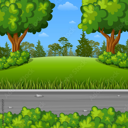 Poster Groene Summer landscape with street