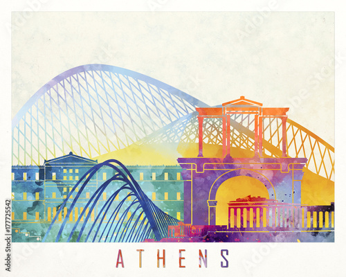 Athens landmarks watercolor poster