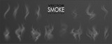 Smoke vector collection, isolated, transparent background. Set of realistic white smoke steam, waves from coffee,tea,cigarettes, hot food,... Fog and mist effect. - 177726581