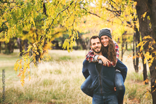 Couple in love in the autumn fall