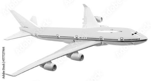 avion de ligne, maquette en noir et blanc, fond blanc