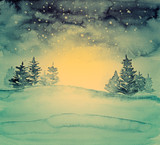 Winter Night Landscape with Spruces (hand painted) - 177728796