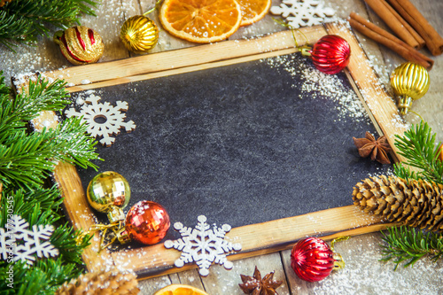 Christmas background. Place for text. Selective focus. плакат