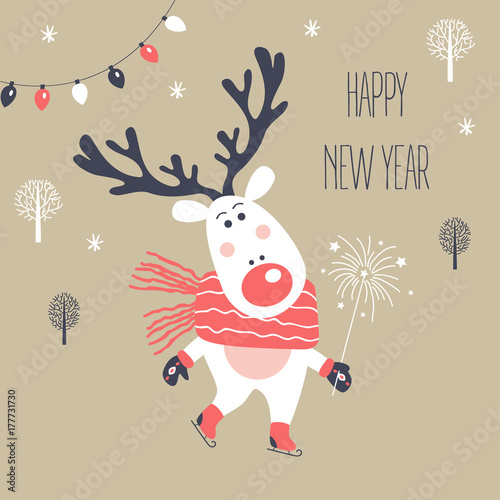Fotobehang Hipster Hert Christmas and New Year card with deer. Vector illustration