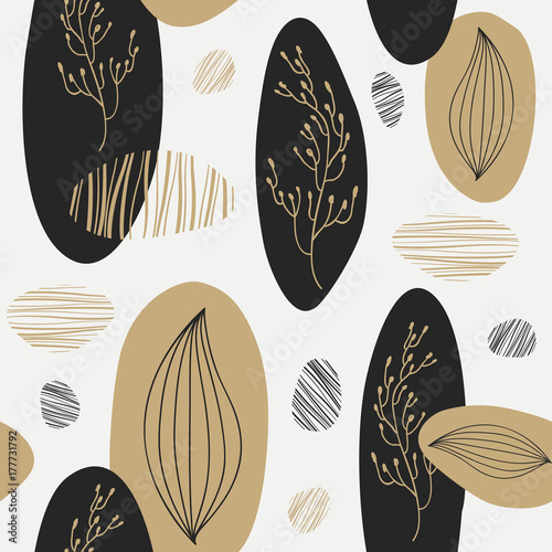 Organic pattern with gold and black element. Vector illustration - 177731792