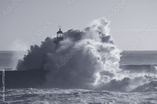 Od lighthouse embraced by stormy waves
