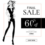 Black and white fashion sale banner with woman fashion silhouette, online shopping social media ads web template with beautiful girl. Vector illustration - 177732580