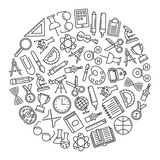 round design element with education icons - 177733540