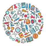 round design element with education icons - 177733557