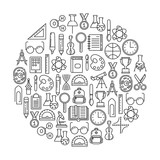 round design element with education icons - 177733565