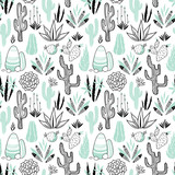 Vector floral seamless pattern with cactuses - 177737955